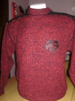 VINTAGE 1990's IOU SWEATER with LEATHER ACCENTS large
