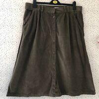 Damart Khaki Brown Button Up Cord Corduroy Skirt Size 18