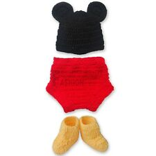 Newborn-12Months Baby Kids Mickey Mouse Crochet Knit Costume Outfit Photo Props