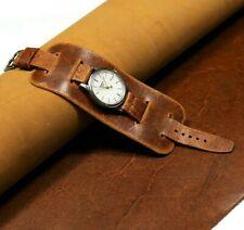 Cuff watch strap Leather watch bund band brown, 20-26mm Steampunk strap