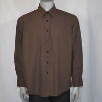 Van Heusen Mens XL 17 - 17 1/2 Brown Shirt Long Sleeve Button Up Casual Dress