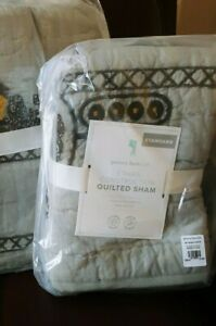 1 Pottery Barn Kids ETHAN Construction Quilted Standard Sham Gray New Yellow