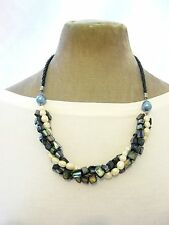Dark Grey Shell fresh water pearl twister Necklace Ladies Gift Fair Trade Gift