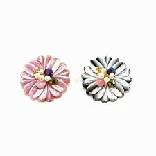 Handmade Fashion Mother of Pearl Flower Crystal Brooch Pin Jewellery Badge Pin