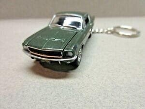 GREEN 1968 BULLITT MUSTANG GT  KEY CHAIN 1/64 SCALE