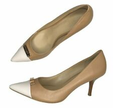 Coach Zan Color Block Pointed Toe Pumps Tan Leather Kitten Heels Women's 10 B