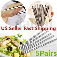 5 Pairs Stainless Steel Anti-skip Chopsticks Stick Gift Set (10 Chop sticks)