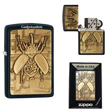 NEW ZIPPO STEAMPUNK BEETLE LIGHTER CAST IN BRASS AND MOUNTED ON A CLASSIC BLACK
