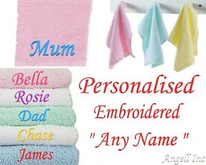 Personalised Embroidered Face Cloth Towel Flannel Baby Gift Kids Adult Gifts