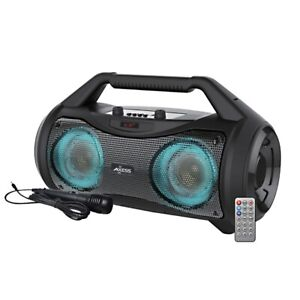 Axess Loud Portable Boombox Bluetooth Speaker With FM Radio