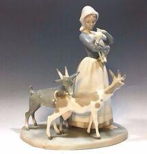 "Lladró Figurine Shepherdess With Three Goats (Pastora Con Rebaño) 9 7/8""H"