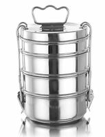 Lunch Box Stainless Steel 4 Tier Travel Food Container Carrier Round Tiffin Set