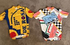 (2) vintage GIORDANA cycling jerseys (medium) DE ROSA bright colors retro