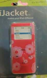 iJACKET iPOD NANO 1G PINK FLOWERS CASE PROTECTOR W BELT CLIP & LANYARD NEW