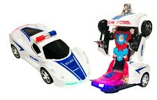 New police car  transformers vehicle with lights and sound robot police toy