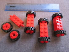 Lego Car / Truck 8 x RED Wheels with Black Rubber Tyres + 4 x RED Axle Bricks