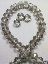 10 PERLE GRIGIO TRASPARENTE 8 mm MEZZI CRISTALLI SFACCETTATI beads BIGIOTTERIA