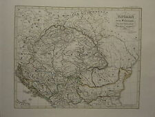 1846 SPRUNER ANTIQUE HISTORICAL MAP ~ HUNGARY EXTINCTION ARPADISCHEN TRIBE 1301