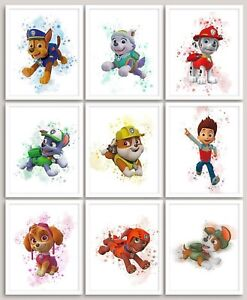 Set Of 9 A4 Paw Patrol Prints Watercolour Wall Art Children's Bedroom