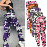 Women Camouflage Casual Camo Army Cargo Jogger Military Long Pants Harem Trouser
