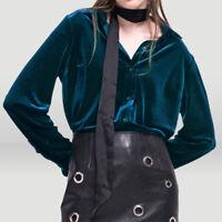 UK Women's Vintage Long Sleeve Velvet Shirt Blouse Top Loose Casual Button Coat