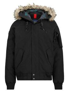 Polo Ralph Lauren Men's Faux Fur-Trim Down Bomber Jacket Polo Black-Size Medium