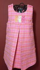 Le Top Girls Sz. 4T Fall Winter Pink Plaid Crochet Applique Jumper Dress