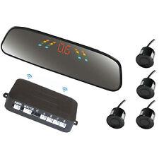 Wireless Car LED Parking Sensor Reverse Backup View Radar System 4 Black Sensors