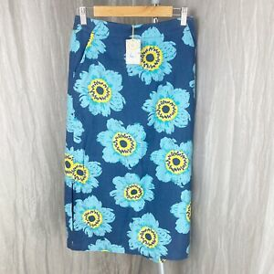 *BNWT* SEASALT Blue Multi Floral Anemone Night SIZE 8 UK Lined Camaret Skirt