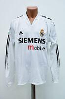 REAL MADRID SPAIN 2004/2005 HOME FOOTBALL SHIRT JERSEY ADIDAS LONG SLEEVE