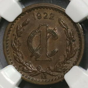 1922 NGC AU 58 MEXICO Key Date 1 Centavo Coin (18092005C)