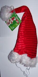 SANTA PAWS Red Padded Hat w/ white fur trim  Pom Christmas Holiday S M L XL Dog