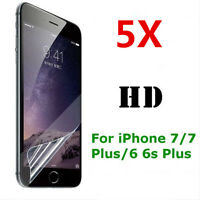 5X New ! For iPhone 7 6s Plus Clear Front / Back Screen Protector PET Film Cover