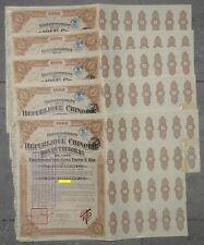 Lot: 5 x 1923 Government Chinese Republic, Lung-Tsing-U-Hai, Treasury bond 8%