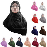 Muslim Amira Hijab One Piece Headscarf Shawl Wrap Pull On Instant Headwear Scarf