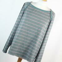 Bonmarche Womens Size L Grey Striped Basic Tee