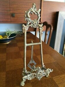 Antique Vintage Brass Book Easel Stand Bible Music Holder Tabletop