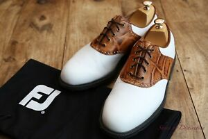 Men's Footjoy Icon Classic White Leather Tan Crocodile Golf Shoes UK 9.5