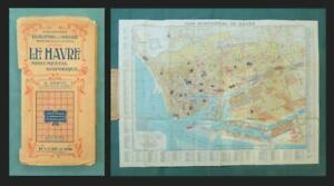 1948 PICTORIAL MAP - LE HAVRE, CITY & DOCKS, France -  by Blondell La Rougery