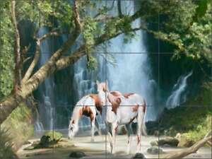 Horse Tile Backsplash Ceramic Mural  Wilkie Waterfall Landscape Art  POV-JWA005