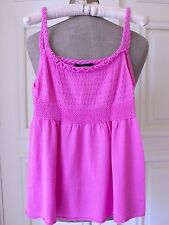 STEFANEL Hot Pink 100% Cotton Knitted Braided Straps Top Tank Top T Shirt Size L