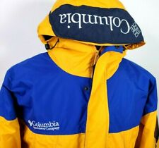 Vintage Columbia Sport Men Yellow Blue Block Sleeve Pocket Spell Out Hood Size M