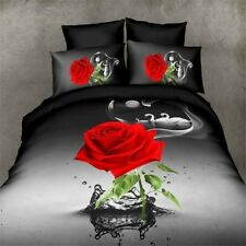 3D Red Rose Floral Wedding Queen Bedding Set Black Sheet Duvet Cover Pillowcase