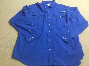Columbia PFG Mens Blue Shirt Long Sleeve Fishing Hiking Size XL Extra Large