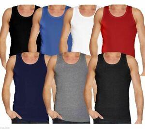 Mens Plain Vest 100% Cotton Tank Top Summer Gym Sleeveless T Shirt