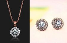 9k Gold White CZ Round Circle Stud Crystal Pendant Necklace Chain Earrings Set