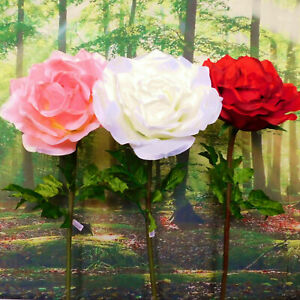 Giant Display Artificial White Red Pink Rose Large Silk Flower Head 1-1.7M Tall