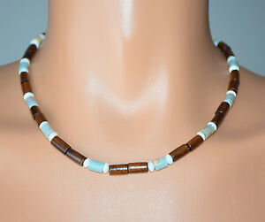 """Stained Natural Wood, Mother Of Pearl & Amazonite Stone Necklace 19"""""""