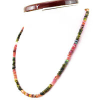 111.50 Cts Natural Watermelon Tourmaline Round Cut Beads Singel Strand Necklace