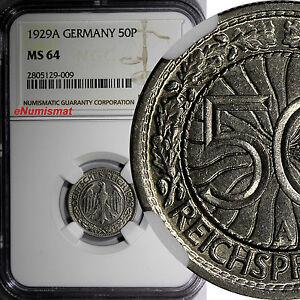 Germany,Weimar Republic 1929 A 50 Reichspfennig NGC MS64 NICE COIN KM# 49 (009)